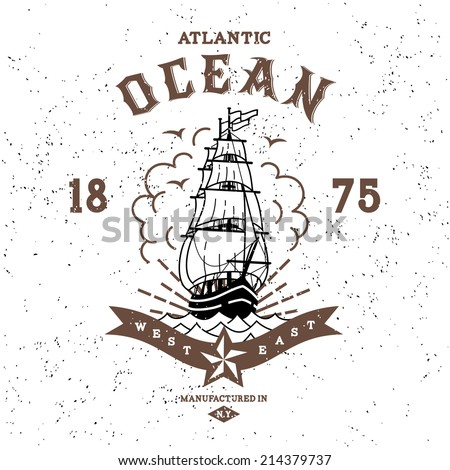 vintage label atlantic ocean ( T-Shirt Print ) - stock vector