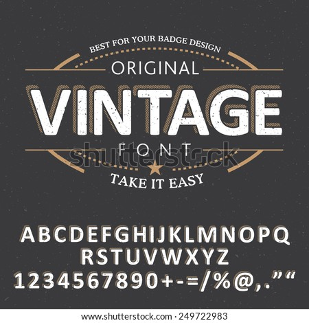 Vintage label font with sample label design on dusty noise background - stock vector