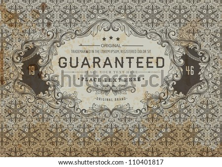 Vintage label for certificate or guaranteed form design | Seamless detailed retro background - stock vector