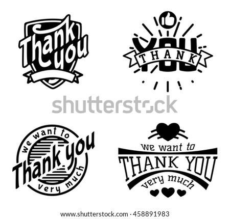 Vintage label Thank You text vector badge. Thank you text design label card lettering type banner symbol. Letter typography thank you badge logo decorative calligraphic message text. - stock vector