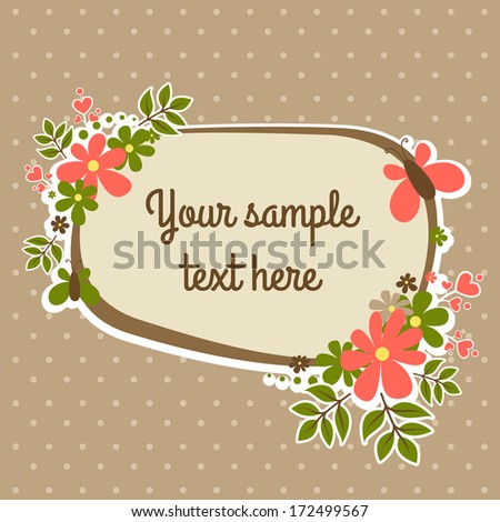 Vintage label with butterfly and flowers - stock vector