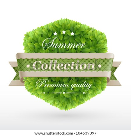 Vintage label with green leaves texture. Vector illustration. - stock vector