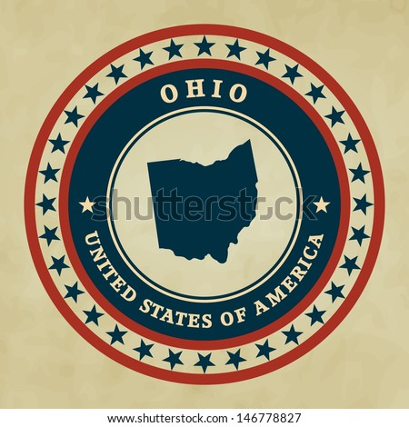 Vintage label with map of Ohio, vector - stock vector