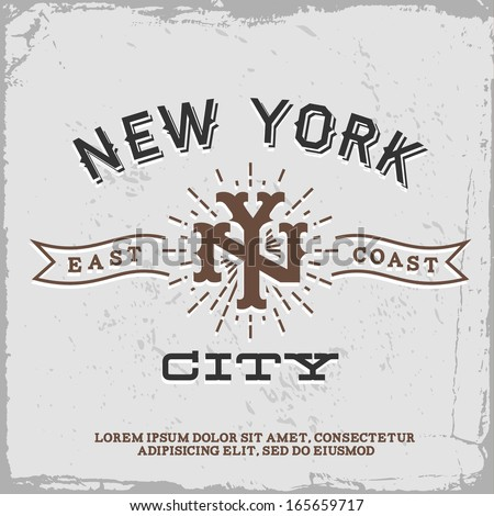 vintage label with New York City monogram (T-Shirt Print) - stock vector