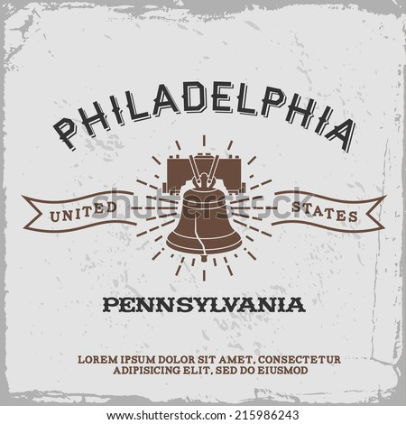 vintage label with Philadelphia logo ( T-Shirt Print ) - stock vector