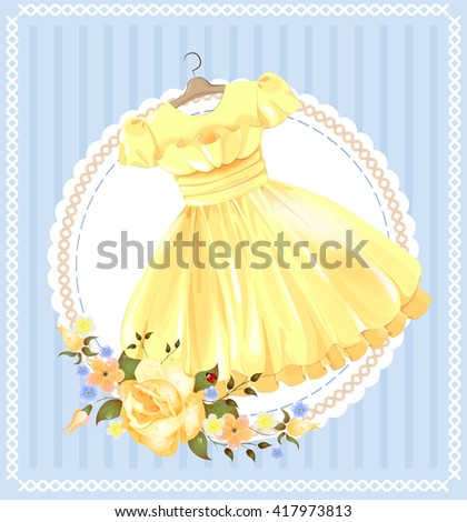 vintage  label with yellow dress  - stock vector