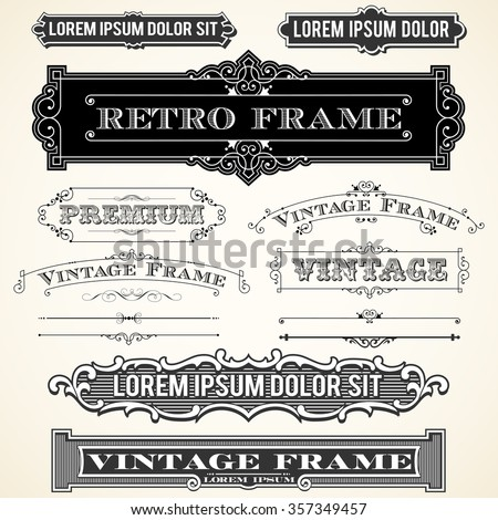 Vintage Labels and Ornaments - Set of vector ornaments and frames.  Each object is grouped and colors are global for easy editing. - stock vector