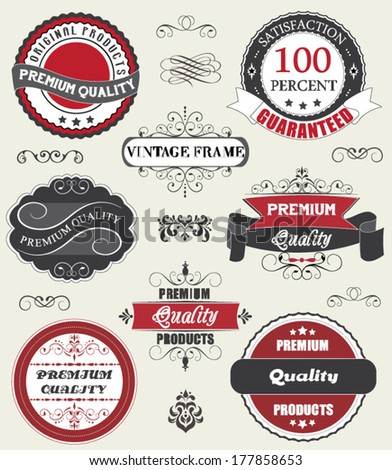 Vintage labels and ribbon retro style set - stock vector