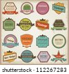 Vintage labels and ribbon retro style set. Vector design elements collection - stock vector
