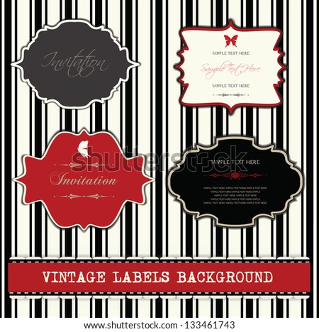 vintage labels background,set - stock vector