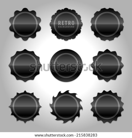 Vintage labels design. Retro style borders and frames, labels, tags, badges and stamps design. Black shiny glass set.  - stock vector