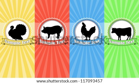 Vintage labels food with farm animals and space for your text, vector illustration - stock vector