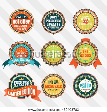 Vintage labels for advertisement vector set. Retro badges vector set. Vector set of labels - stock vector
