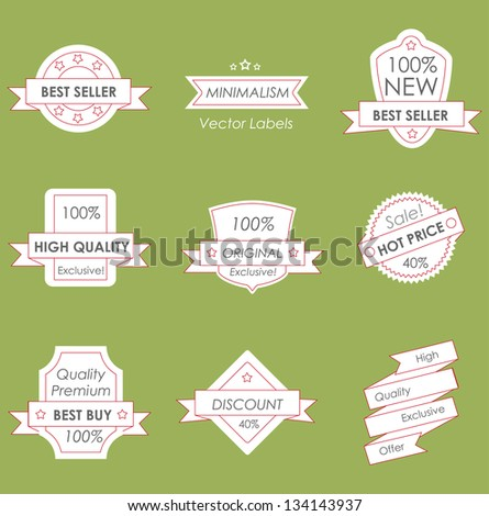 vintage labels in minimalism style - stock vector