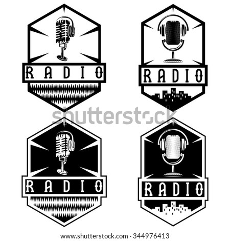 vintage labels of radio with microphone and headphones  - stock vector