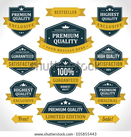Vintage labels or badges and ribbon retro style set. Vector design elements. - stock vector