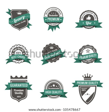 Vintage Labels set of trendy designs.  Retro logo template High quality. Vector. - stock vector