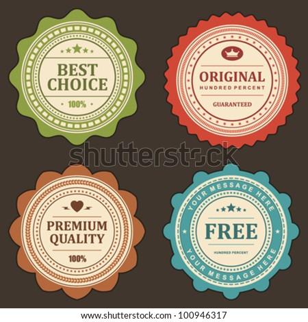 Vintage labels set. Vector design elements. - stock vector