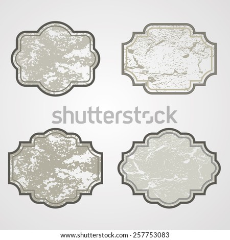 Vintage Labels Set with Distressed Texture. Vector Grunge Design Elements. Set of Ribbons and Cards for Vintage Elements.  - stock vector