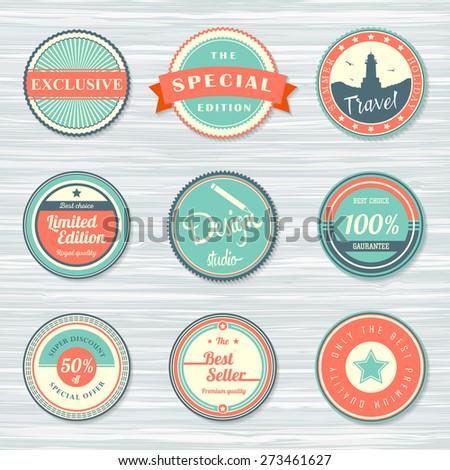 Vintage labels template set: best seller, special edition, exclusive, travel, design studio, best seller, 100% guarantee, discount. Retro badges on wooden background. Vector illustration - stock vector