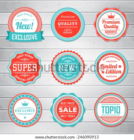 Vintage Labels template set. Retro badges for your design on wooden background. Vector illustration. - stock vector