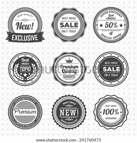 Vintage Labels template set.  Vector design elements, business signs, logos, identity, retro badges and objects for your design. - stock vector