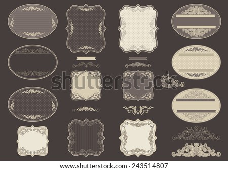 Vintage labels. Vector set  of retro  labels and vintage  border for  design.  - stock vector