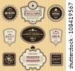 Vintage labels. Vector set. Striped grunge background - stock vector