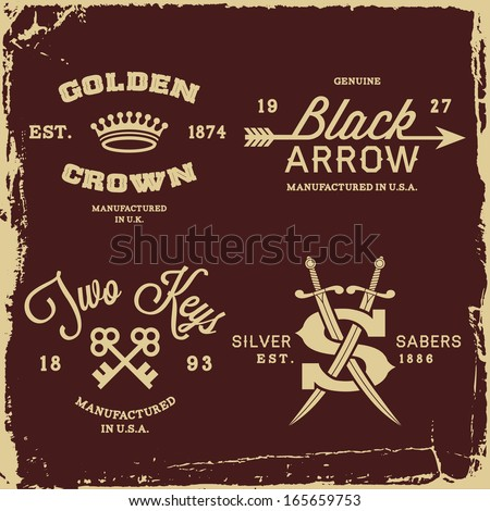 vintage labels with crown, arrow and saber (T-Shirt Print) - stock vector