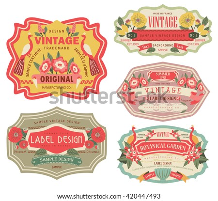 vintage labels with flower - stock vector