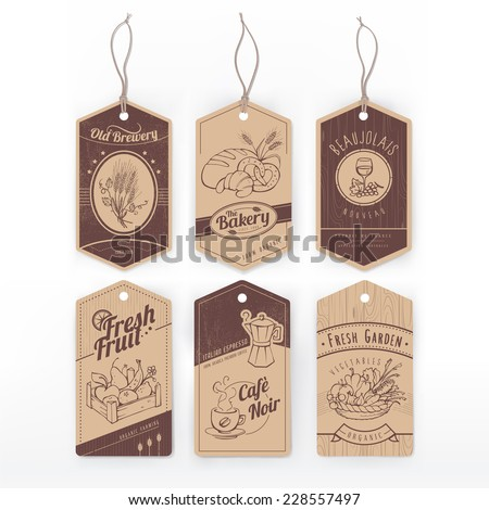 Vintage labels with stripe with assorted hand drawn food items. - stock vector