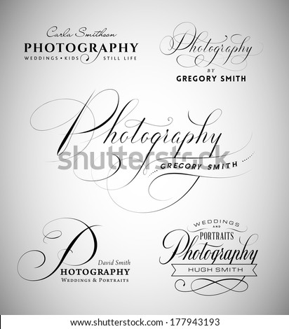 Vintage labels with word photography written in calligraphic styles - stock vector
