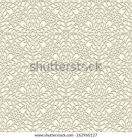Vintage lace background, crochet ornament, vector seamless pattern in light color - stock vector