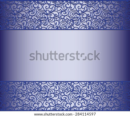 Vintage lace background for envelope, card or invitation in royal blue color. Vector - stock vector
