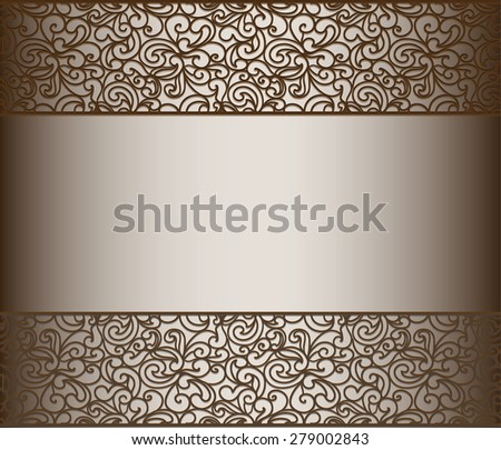 Vintage lace background for envelope, card or invitation with abstract lace borders. Chocolate color. Vector - stock vector