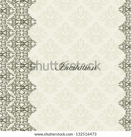 Vintage lace border on stylish damask floral textured wallpaper.Can be used as Wedding Invitation, Certificate, Diploma, business card etc. - stock vector