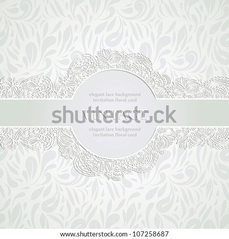 Vintage Lace frame on light silver elegant seamless background, can be used as wedding invitation etc. - stock vector