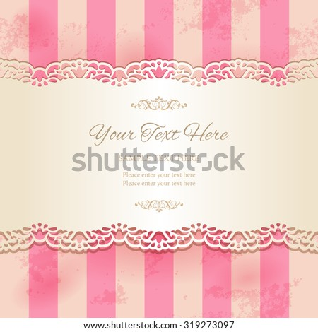 Vintage lacy ornamental ribbon on striped pink background. Tape with cutout borders on old stained paper texture. Vector illustration EPS10 - stock vector