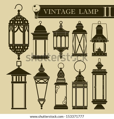 Vintage lamp II - stock vector