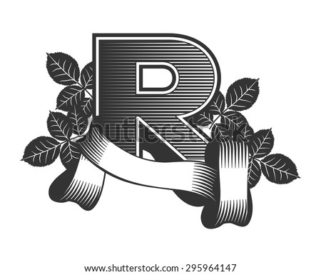 Vintage letter randomly drawn bars decorated with ribbons and leaves roses on a white background, letter R - stock vector