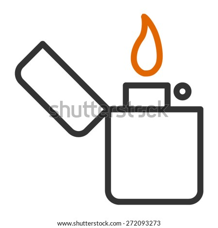 Vintage lighter line art icon - stock vector
