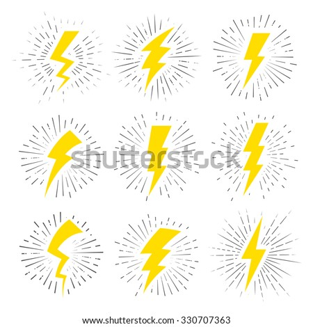 Vintage Lightning Bolt Signs. Template for t-shirt, cover, pack, poster or your art works. - stock vector