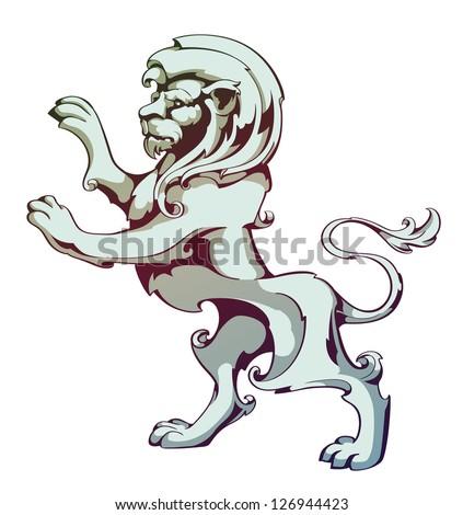 Vintage lion. EPS 8 vector illustration. - stock vector