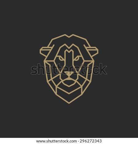 Vintage lion face Line art logotype emblem symbol. Can be used for labels, badges, stickers, logos vector illustration. - stock vector