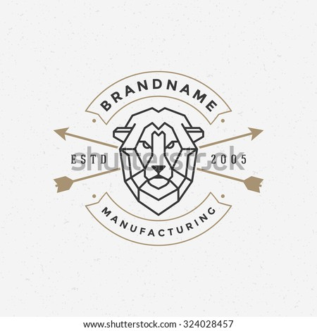 Vintage lion face Line art logotype emblem symbol. Can be used for labels, badges, stickers, logos vector illustration. - stock vector