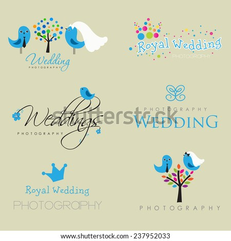 Vintage logo collection for wedding photographer. Cute logos with bride and groom, birds, trees and flowers. - stock vector