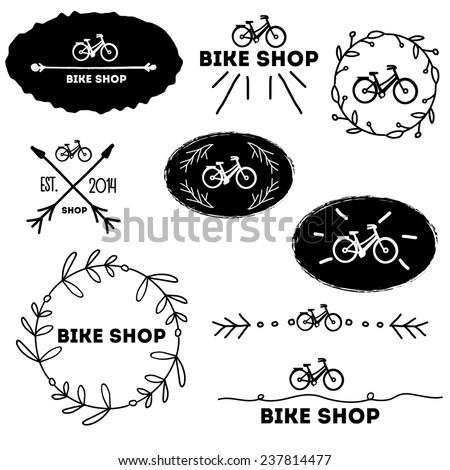 Vintage logo for bike shop vector set - stock vector