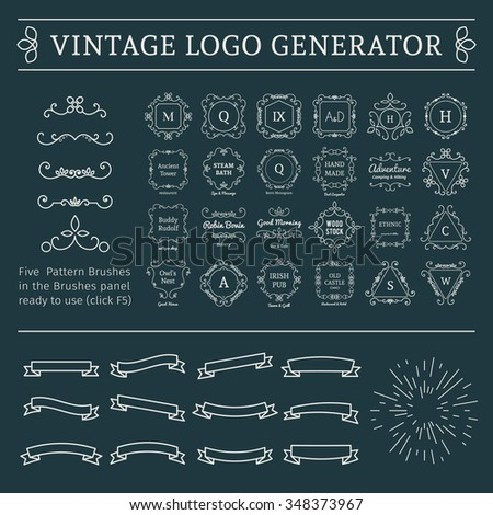 Vintage logo generator. Vector set of luxury logos templates and calligraphic lineart pattern brushes, sunburst and ribbons. - stock vector