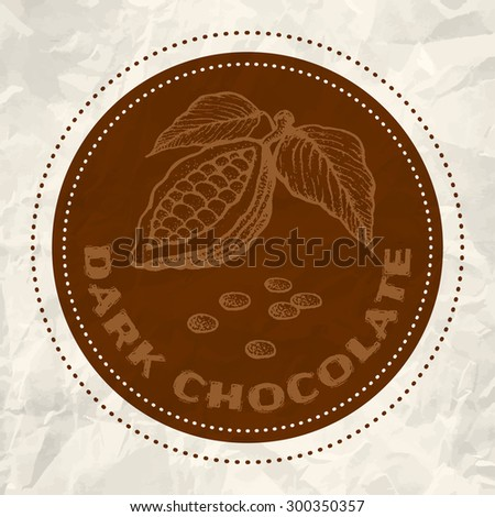 Vintage logo of cocoa on crumpled white paper - stock vector