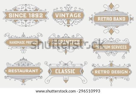 vintage logo template, Hotel, Restaurant, Business Identity set. Design with Flourishes Elegant Design Elements. Royalty. Vector Illustration  - stock vector